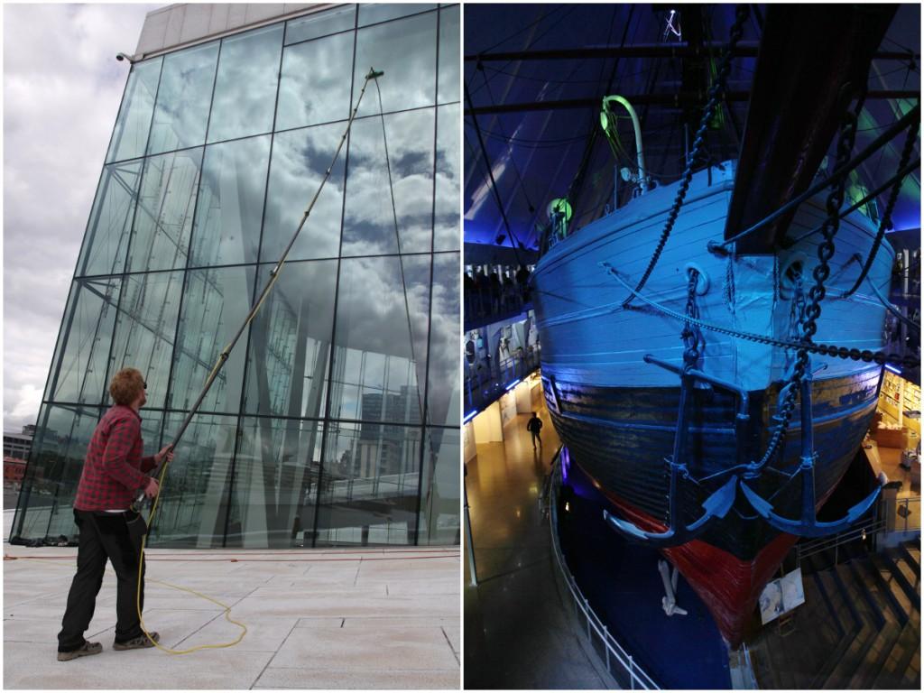 Oper-Fensterputzer und Fram Polarschiffmuseum